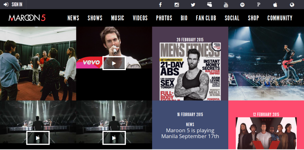 maroon5 web design