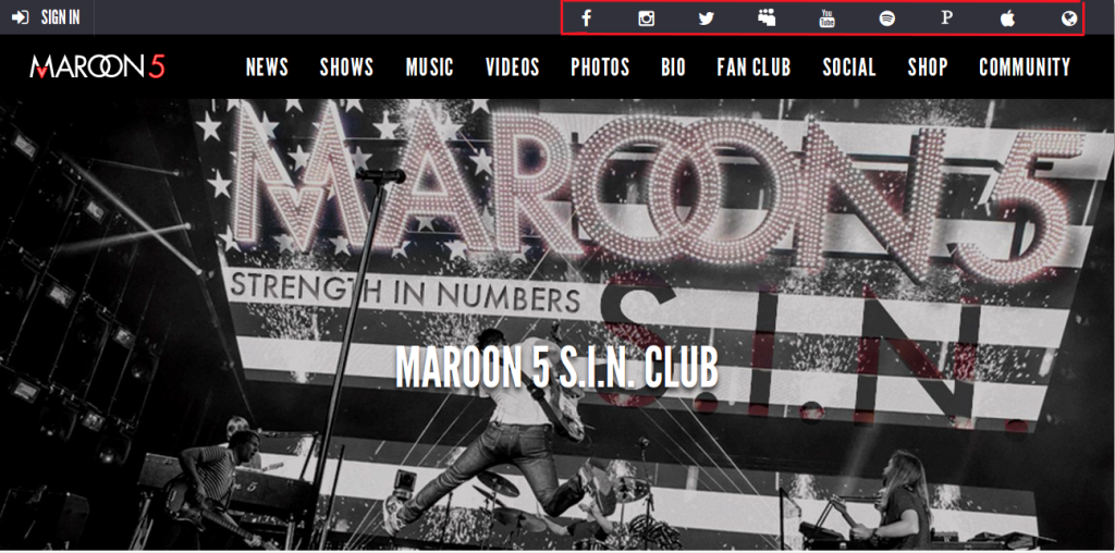 maroon5 website design