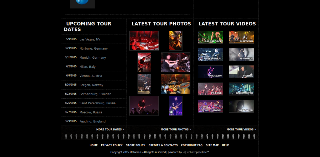 metallica band site design