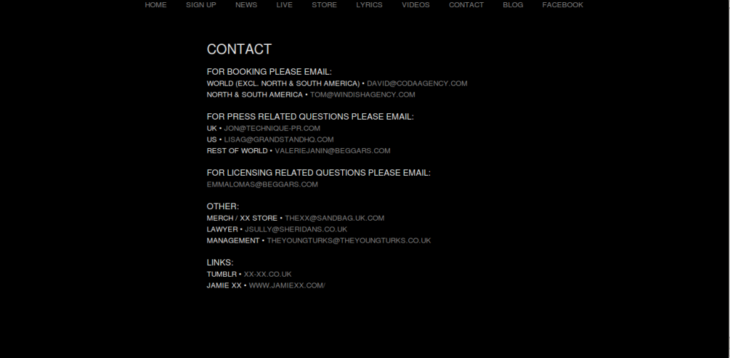 thexx contact page design