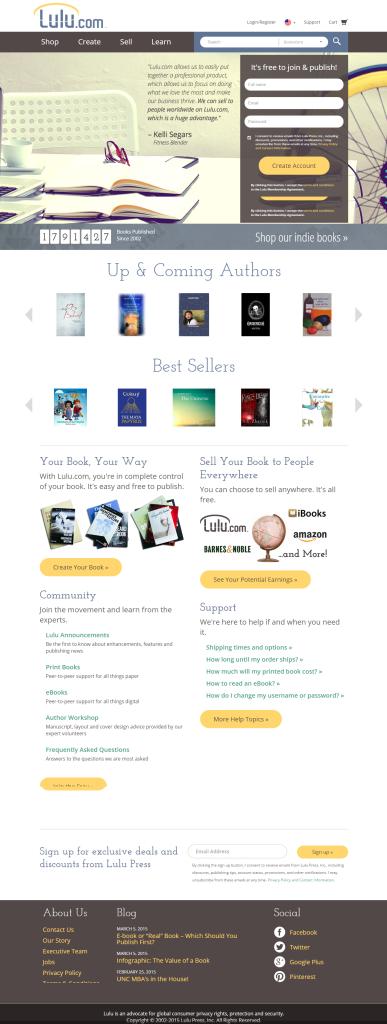 Lulu Online Self Publishing web design