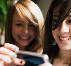 teenagers using smartphone