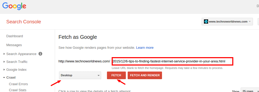 fetch as google desktop