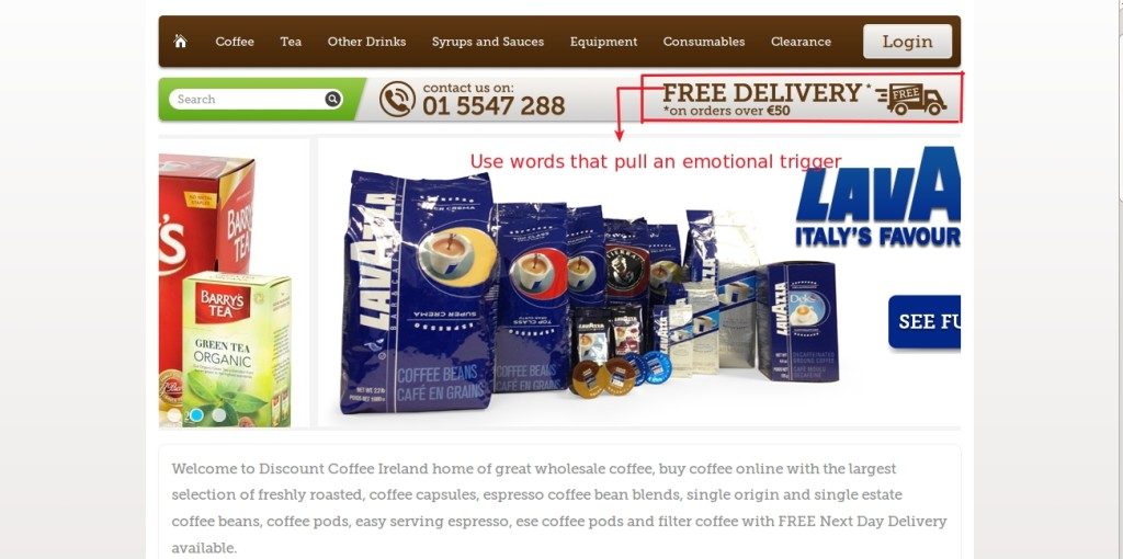 discount coffee web design