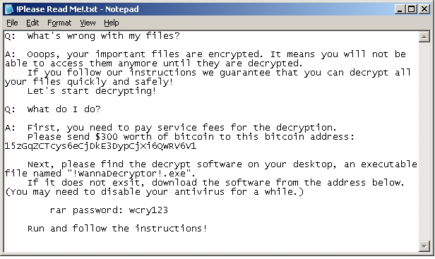 WannaCry Please Read Me file