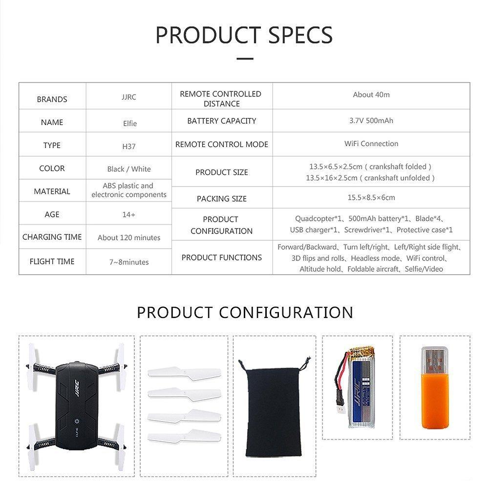 selfie drone specification