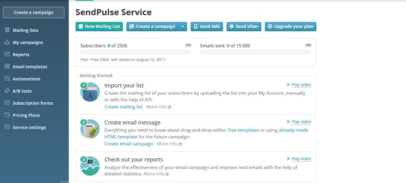 SendPulse services