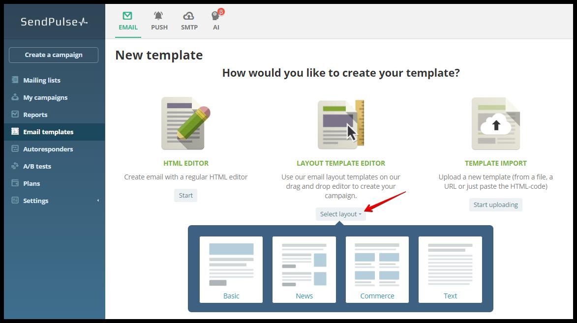 sendpulse layout template editor