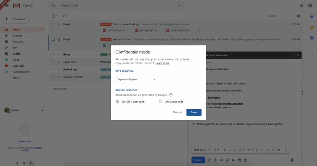 how to stop emails automatically deleting on gmail